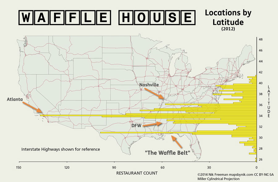 Mapsbynik Waffle House By Latitude After The Seriousness - Density map of waffle house in us